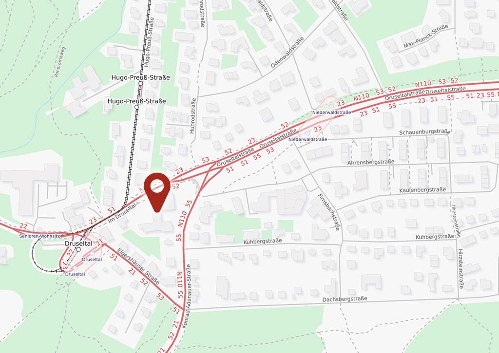 Lageplan Luisenhaus in Kassel